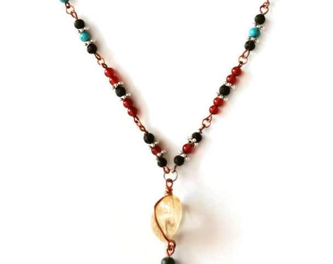 Citrine, Turquoise, Carnelian, Agate and Jasper Gemstone Necklace with Copper & Silver