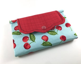 Retro Cherries - Wallet - Bi Fold Fabric Wallet - Lady's Snap Close Wallet