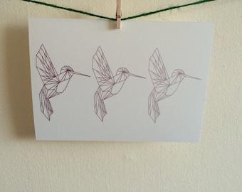 Hummingbird Trio Postcard Print