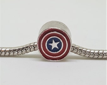 Silver Captain America Charm for European Bracelets (item 272)