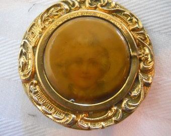 Antique Button Lithograph Celluloid and Brass Button~  ~1  1/4th inch