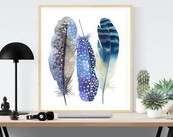 Blue Feathers Print, Feathers Printable, Feathers Print, Instant Download, Boho Feather, Feather Poster, Large Feather Print, Boho Print