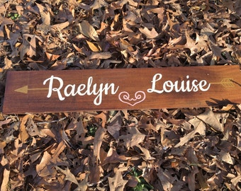 Custom Baby Name Sign~ Baby Name Wood Sign~ Nursery Wall Decor~ Reclaimed Wood Sign~ Pallet Wood Sign~ Custom Wood Sign~ Hand Painted Sign