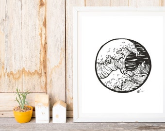 The Great Wave of Kanagawa Rendition Print