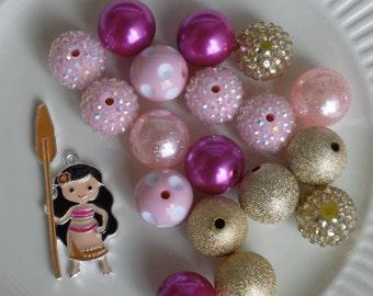 Moana inspired necklace kit DIY chunky bead kit 18 bubblegum beads +1 rhinestone pendant wholesale gumball bead kit party favor