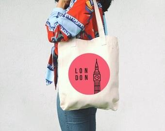 London tote bag - Cotton tote bag - London craft tote - London themed gift - London City - Gift for London lover - Minimal Big Ben - Pink