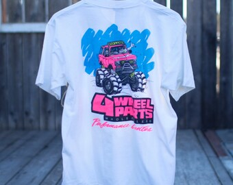 Vintage 4 Wheel Parts Neon 50/50 T-shirt Made in USA