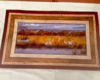 Floor Cloth/Hand Painted Canvas Rug/Sandhill Cranes/Brown/Beige/Rust/Bosque del Apache Nature Refuge/Painted Scene