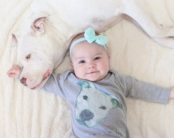 Luv a Bull Long Sleeve One Piece - Pitbull One Piece - Pitbull Baby Top - Cute Pitbull Top - Dog Lover - Dog Rescue Top Babies and Pit Bulls