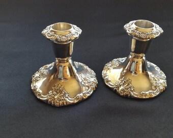 Wallace Silver Plate Baroque Candlesticks