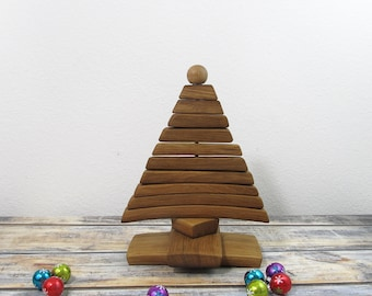 Wooden Christmas Tree Alternatives Made For The Table Top From Wine Barrel Staves, A115