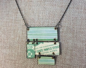 Boston, Massachusetts State Maple Syrup Green and Blue Patterned Woodburned Necklace