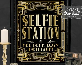 Selfie Station Gatsby Photo Poster - INSTANT DOWNLOAD - Printable Wedding & Birthday Party Art Deco 1920s Sign Sassaby Weddings