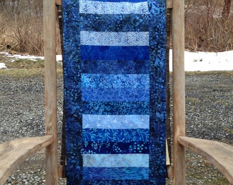 Blue batik table runner