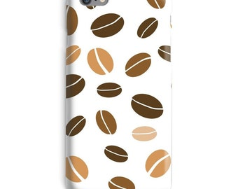 Coffee iPhone Case, Beans iphone case, White iphone 6 case, Brown iphone 6 case, Dots iphone 6s case, Artistic iphone case