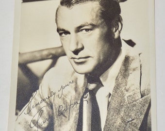 Gary Cooper autographed postcard reprint,5x7,hollywood memorabilia,legendary actor autograph,Gary Cooper photo,hollywood decor