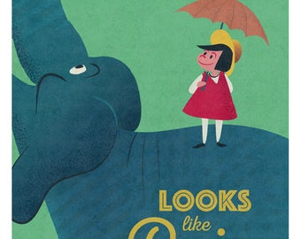 Looks like Rain, Elephant, Nursery Art, Childrens Bedroom Art,