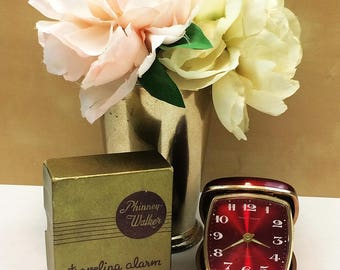 Phinney Walker Traveling Alarm Clock Candy Apple Red Clam Shell Case with Original Box from Hawk Vintage Clothing