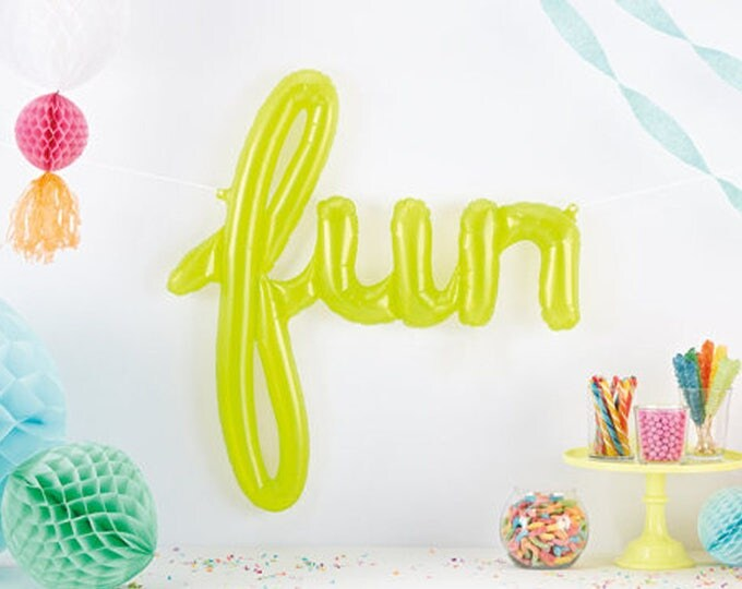 Fun Green Letter Balloon in Script for Graduation or New Job. Translucent Lime Green Modern Party Decor. Luau Party Decor for Summer.