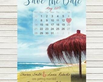 Beach Umbrella Calendar Save the Date