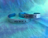 Customizable Gamer Couple Bracelets - Player 1 and Player 2 Bracelet Set - Couples Bracelets - Gamers Bracelets - Gift for Gamers