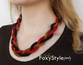 crochet necklace red necklace black necklace handmade gift beaded crochet necklace yellow necklace elegant necklace christmas gift