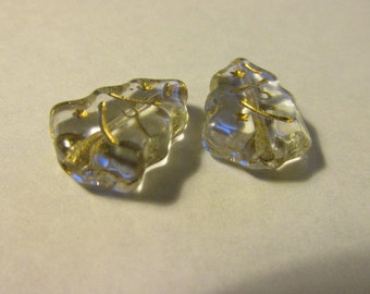 Clear Czech Glass Christmas Tree Bead with Gold Accents, 20mm, Set of 2
