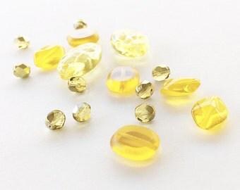 Lemon Yellow Czech Glass Beads, Czech Glass Beads, Yellow Beads, Focal Beads, Glass Beads, Assorted Beads, Glass Bead Mix, Bead Mix - 17pc