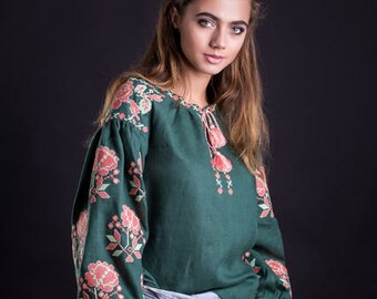 Ukrainian vyshyvanka. Linen embroidered blouse. National clothing, boho chic. Ethnic embroidery, Bohemian. Folk. Free Shipping