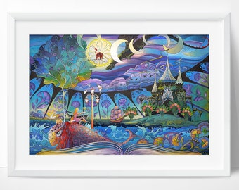 Fairy tale. Gouache Art Print 7,8x11,8