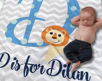 Custom Baby Name Blanket - Personalized Baby Blanket Boy - Baby Shower Gift - Name Receiving Blanket - Stroller Blanket - Baby Photo Prop