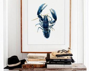 Lobster Water Color Art Prints, Blue Lobster, Coastal Wall Decor, Sea  Animals Art