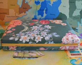Flower Design Travel Jewelry Case With Mirror