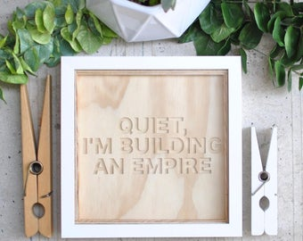 plywood carved sign + frame | empire | words