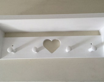 Hand Made Four Shaker Peg Shelf With Gap 60 cms Painted Annie Sloan White