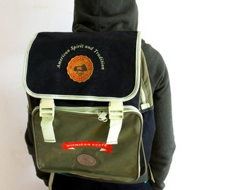 Mens Canvas Backpack School backpack canvas Army Green Backpack Michigan State University Backpack RARE Vintage