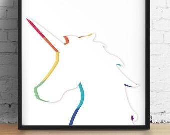 Printable Wall Art - Rainbows & Unicorn Digital Print | Colorful, minimalist office decor, nursery decor