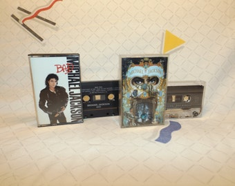 Michael Jackson Cassette Tapes TWO Pack albums Bad (1987) and Dangerous (1991) Cassettes MJ Moonwalk King of Pop