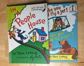 In a People House by Theo. Lesieg, 72' and Maybe You Should Fly a Jet by Theo. Lesieg, 80'; Beginner Books, Dr. Seuss Series; FREE SHIP U.S.