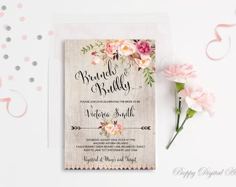 Floral Bridal Shower Invitation Printable Boho Bridal Shower Invite Rustic Bridal Shower Party Bohemian Brunch and Bubbly Shower Invitations