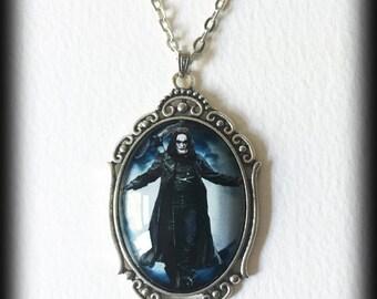 The Crow Necklace, Brandon Lee Glass Cameo Pendant, Gothic Jewelry, Alternative Jewelry, Gothic Gift, Handmade Jewelry