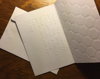 Brailled Card with Embossed Honey Comb Pattern with Personalized Message