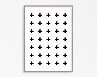 Swiss cross. Scandinavian decor. Minimalist art. Download and print