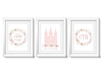 Set of 3 print, I am a Child of God, lds Temple, ctr, Instant Download Digital Printable LDS Gift Art print Girls room decor, pink flowers