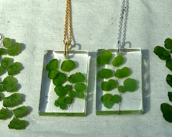 Real Fern Pendant, Eco Resin Pendant, Maidenhair Fern Necklace, Terrarium Jewelry, Fern Jewelry, Eco Resin Jewelry, Nature Inspired Necklace