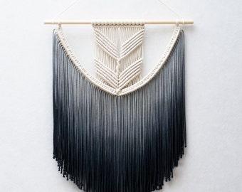 Medium Macrame Wall Hanging / Modern Macrame  / Wall Art / Boho Wall Hanging / Wall Tapestry / Macrame Tapestry / Dip-dye Wall hanging