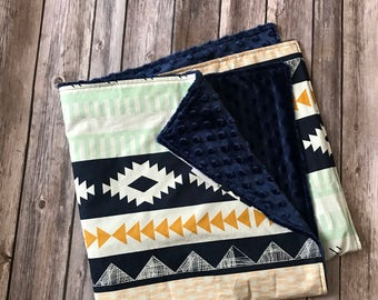 Arizona Baby Blanket, Mint Navy Baby Blanket, Southwestern Baby Blanket, Tribal Baby Blanket, Gender Neutral Blanket, Minky Baby Blanket