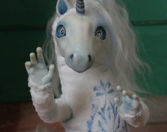 Unicorn poseable art doll, ooak