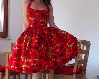 Pinup dress 'Lilly dress in Poppies', PLUS SIZE AVAILABLE, floral dress, rockabilly, gathered bust