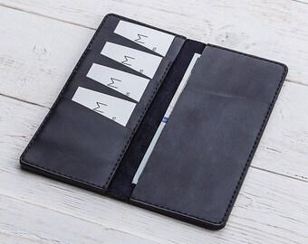 Leather Card Holder, Checkbook Wallet, Mens Leather Wallet, Slim Wallet, Womens Leather Wallet, Blue Wallet, Card Wallet, Travel wallet